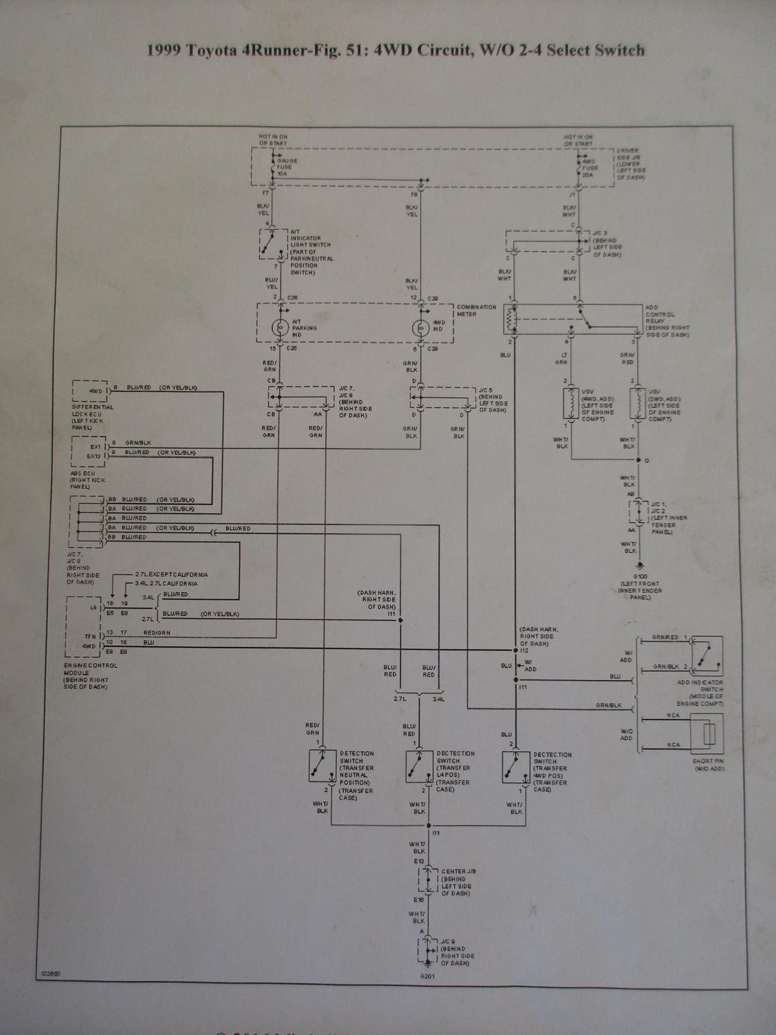 1999 4runner 4wd Circuit Diagram W  O Select Switch