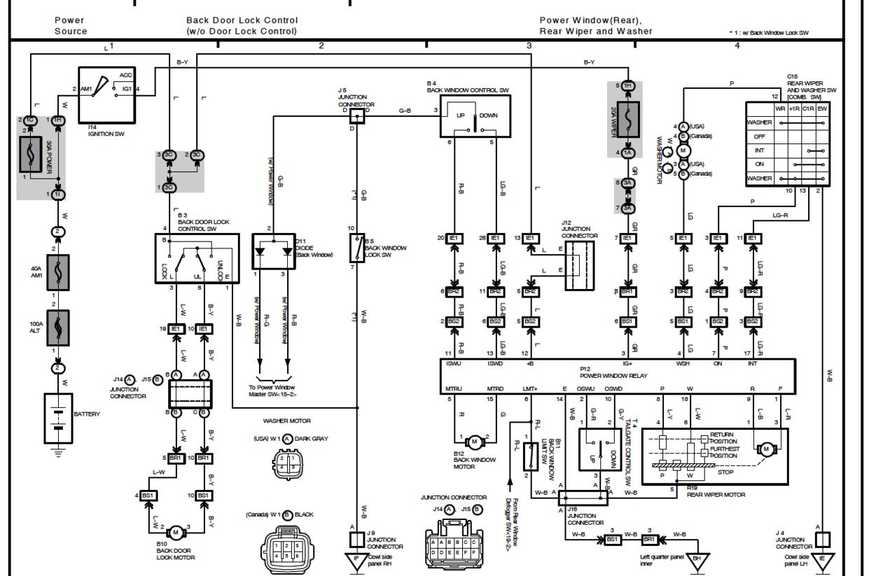 1995 Toyota 4runner Window Wiring Diagram Trusted Diagrams 2000 Windshield Washer Data Circuit Engine