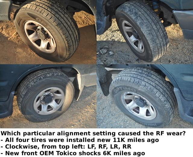 advice sought for the likely cause of premature front right tire wear 11k miles toyota. Black Bedroom Furniture Sets. Home Design Ideas