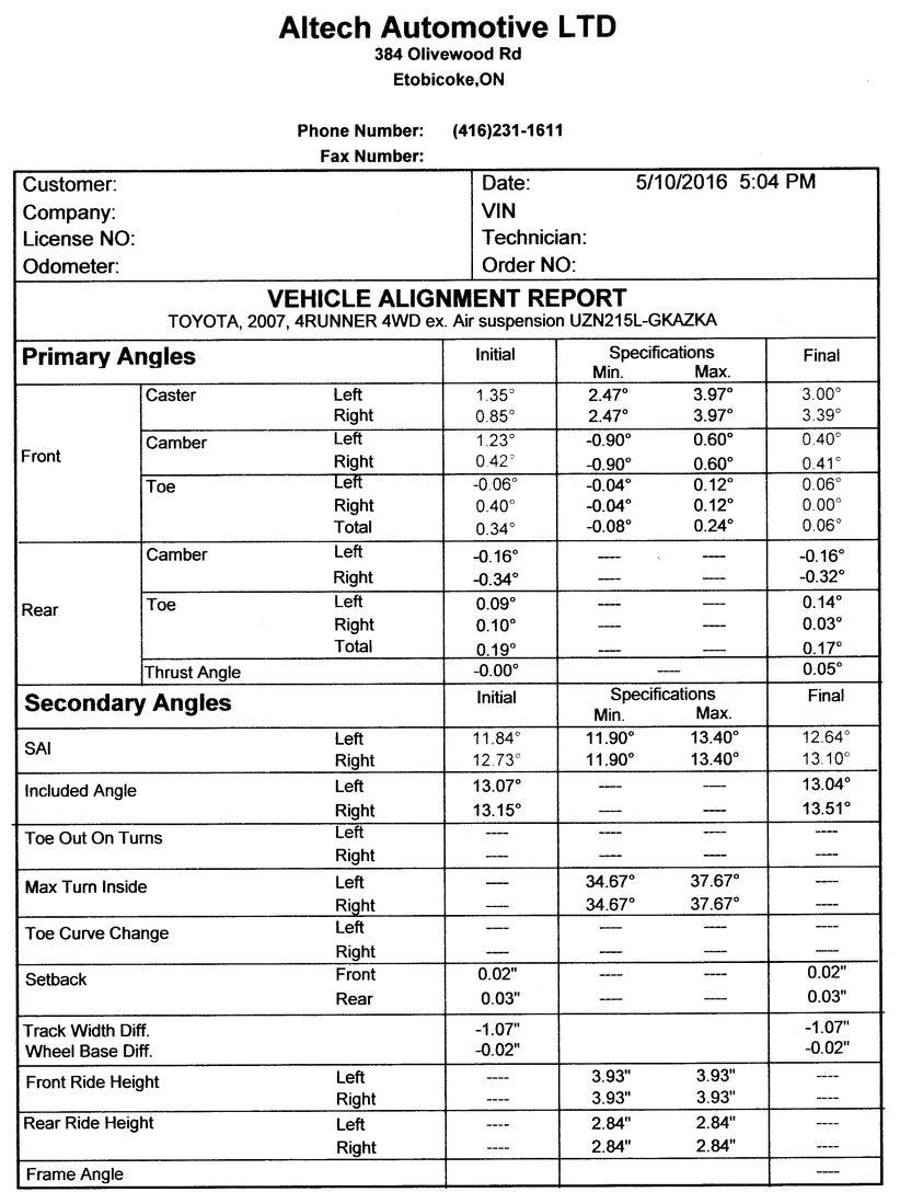2011 tacoma alignment specs