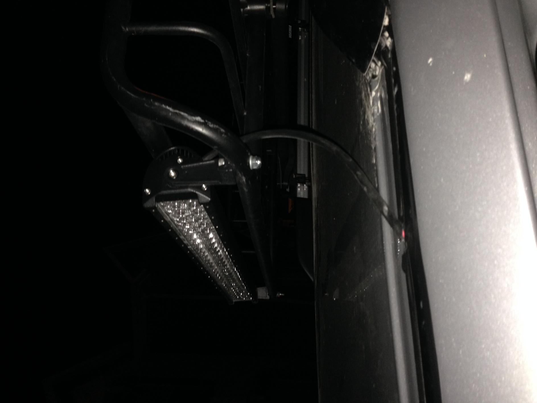 heavily requested installed pics of light bar w/ basket, spacers, and bar brightness-outside-wire-jpg