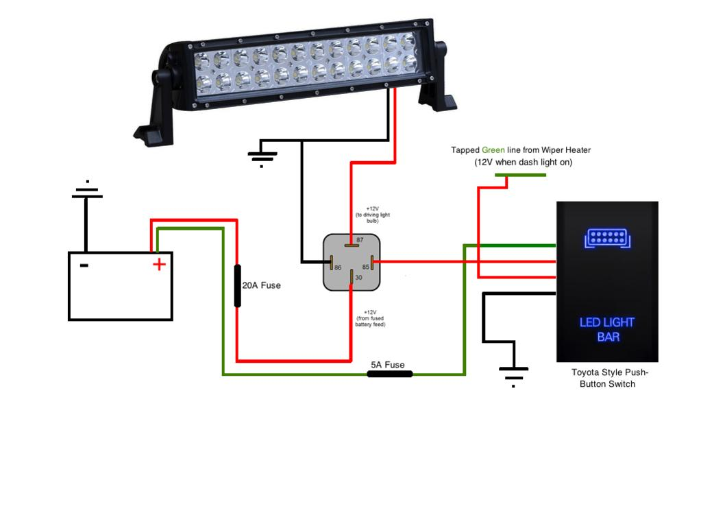 Wiring Diagram For Led Light Bar : Led light bar install on a t r page toyota