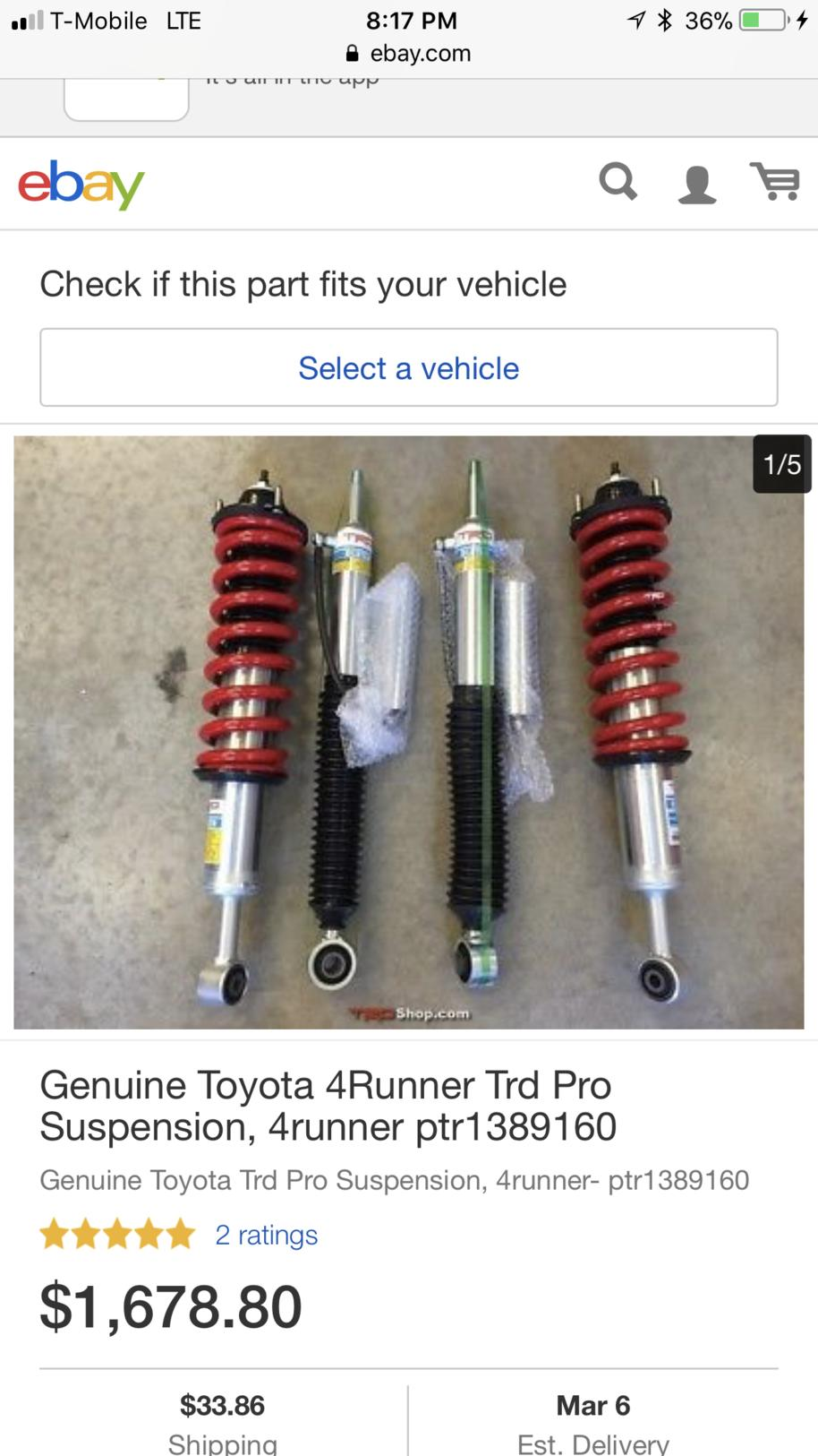 2017 Toyota 4Runner Trd Pro For Sale >> Bilstein TRD Pro suspension kit on sale PTR13-35140 - Page 8 - Toyota 4Runner Forum - Largest ...