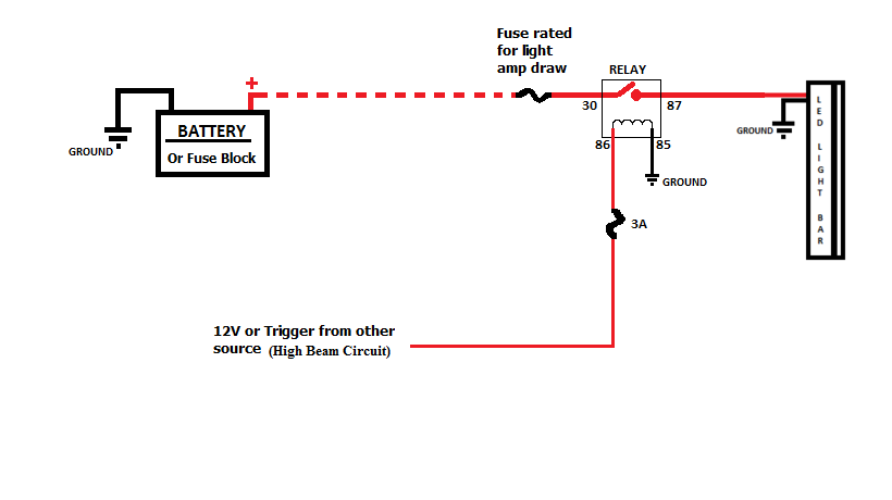 led light bar wiring diagram high beam