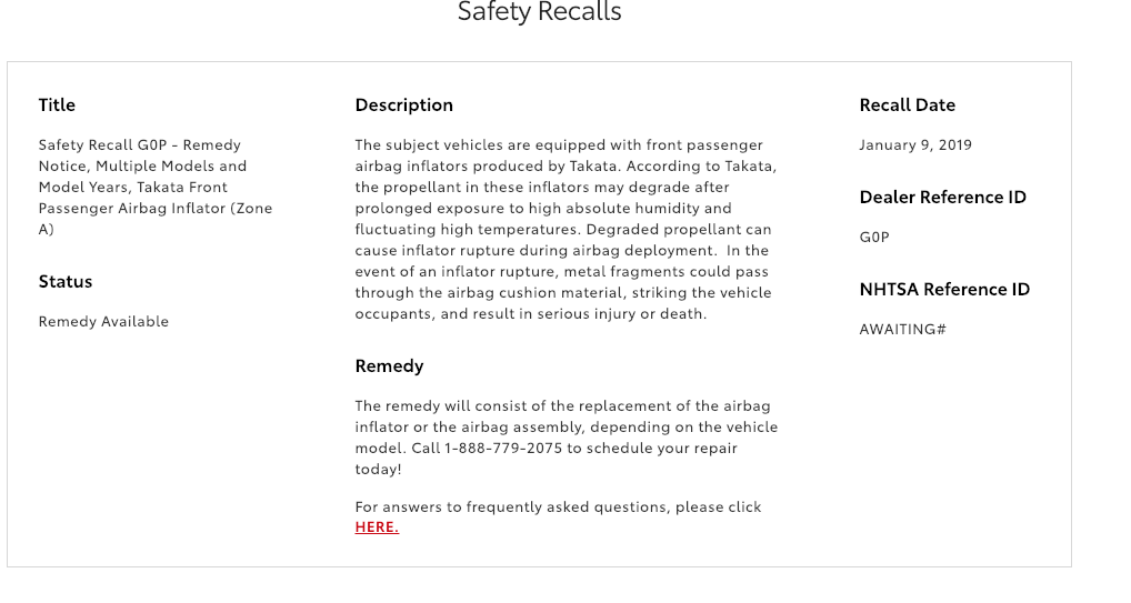 1/9/19 - Toyota Expands Takata Air Bag Safety Recall : 2010-2016