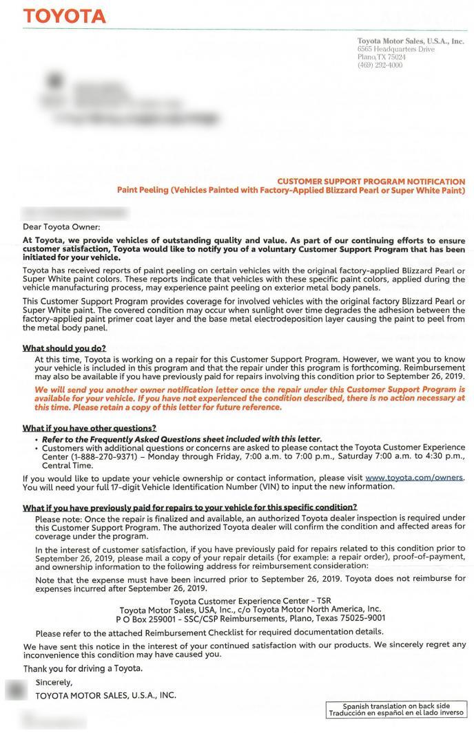 Letter from Toyota - Super White and Blizzard Pearl Peeling Paint?-letter-jpg