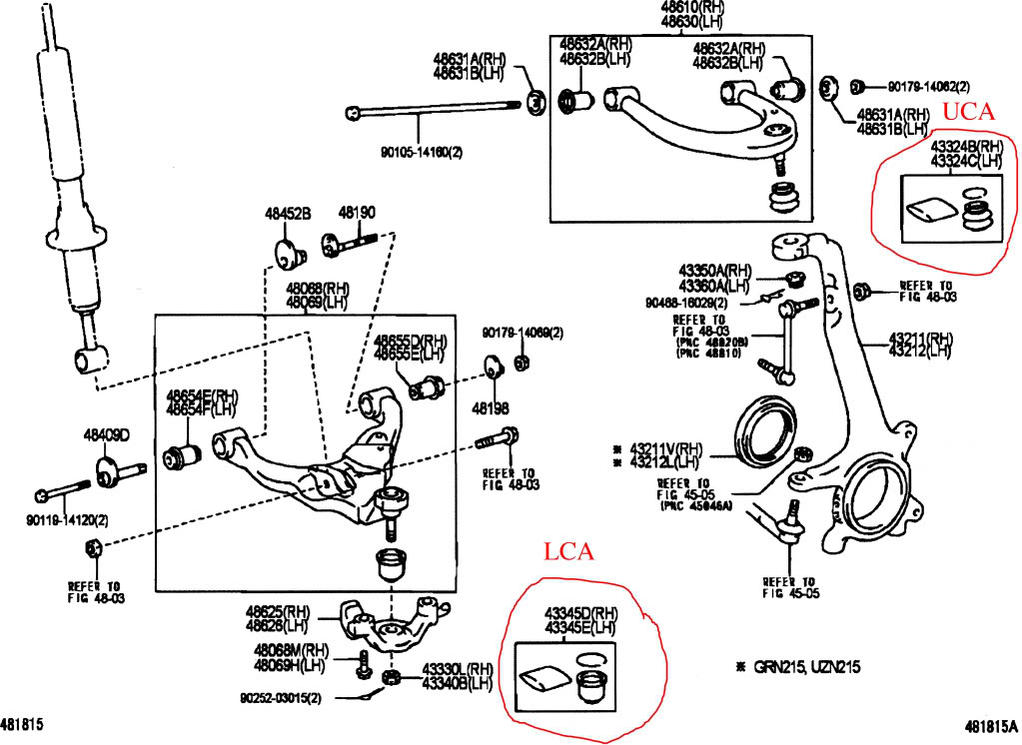 toyota tacoma lower ball joint front suspension diagram