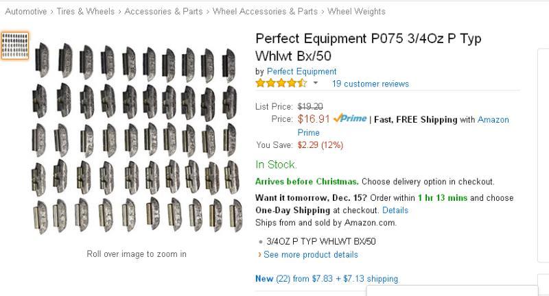Perfect Equipment P075 3//4Oz P Typ Whlwt Bx//50