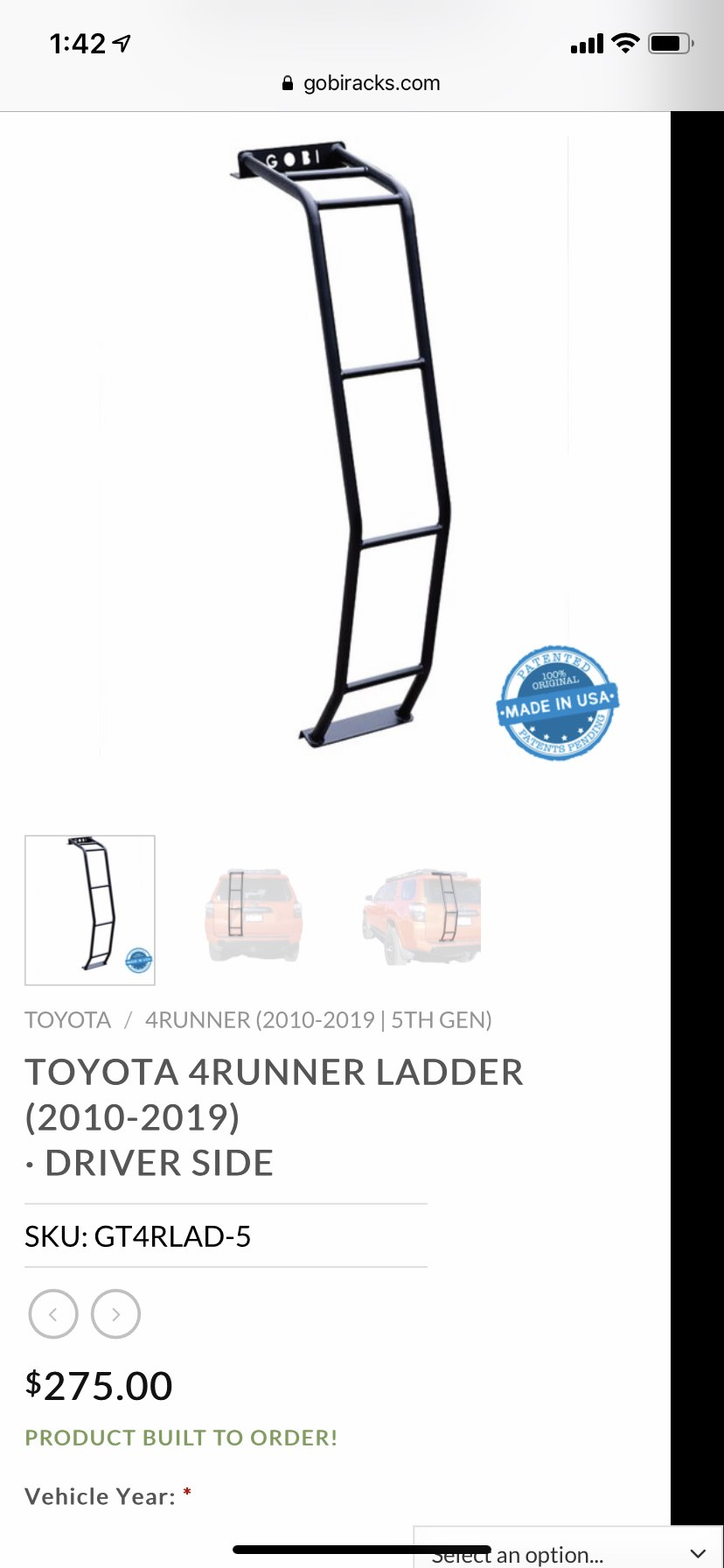 FS Gobi 4Runner (2010-2019) Ladder with Gobi RearGas Springs New 5 Los Angeles, CA-gobi-5th-gen-ladder-1-jpg