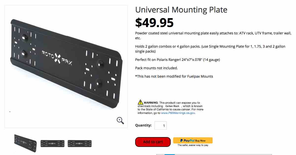 FS Rotopax Universal Mounting Plate and two (2) LOX Pack mount 0 Los Angeles, CA-rotopax-2-jpg