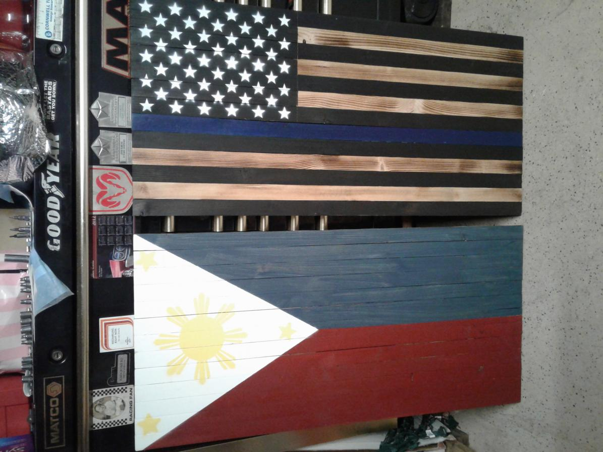 Rustic Wooden American Flags Wall Display, +, Southern California-20190907_205320-jpg