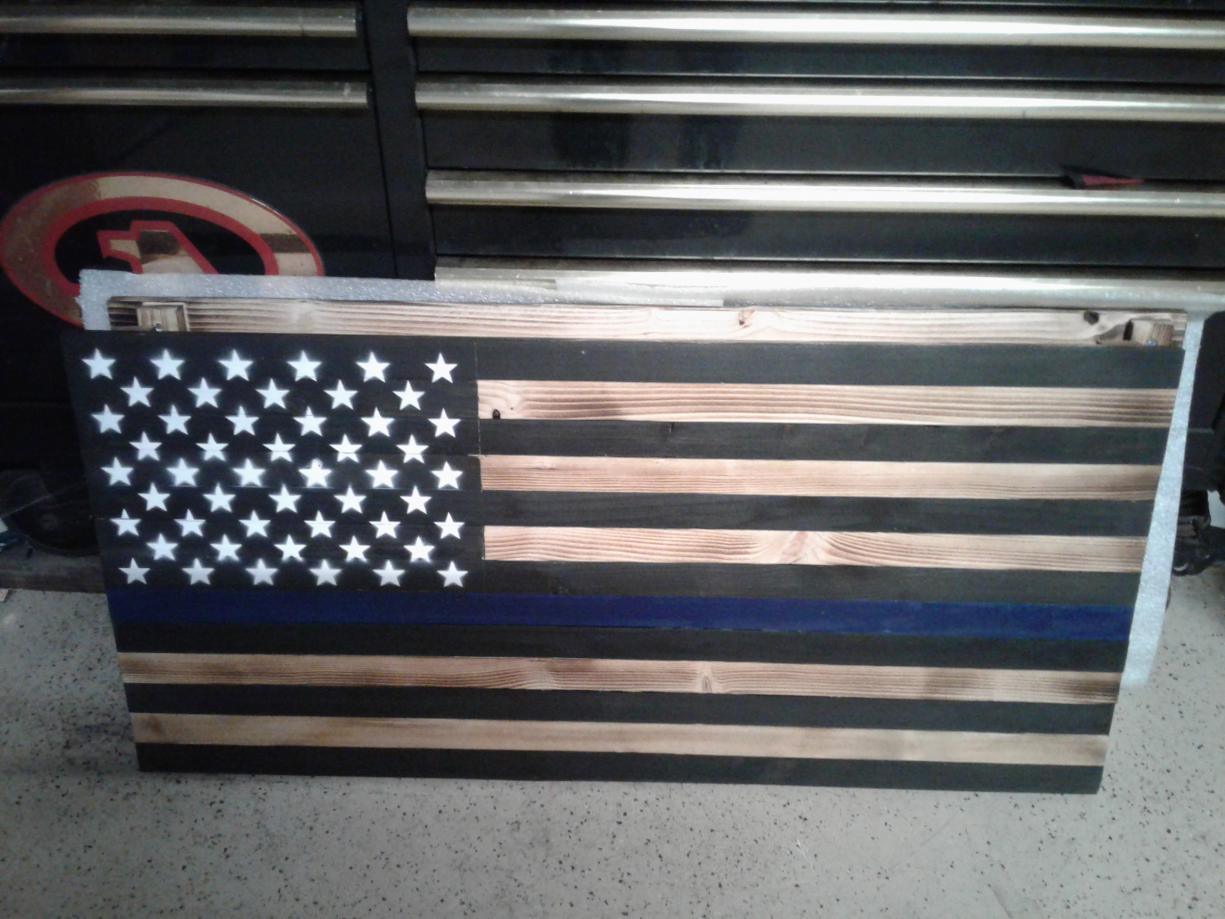 Rustic Wooden American Flags Wall Display, +, Southern California-20190907_204800-jpg
