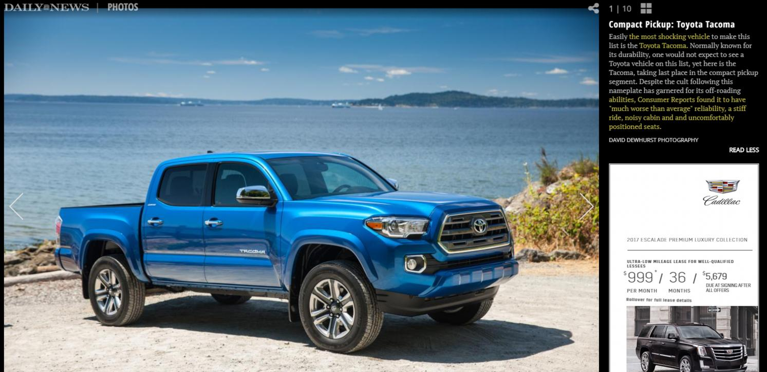 Tacoma Rated Worst Compact Pickup By Consumer Reports