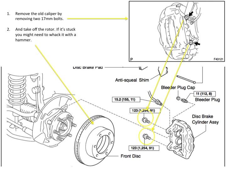 toyota 4runner brake pads diagram