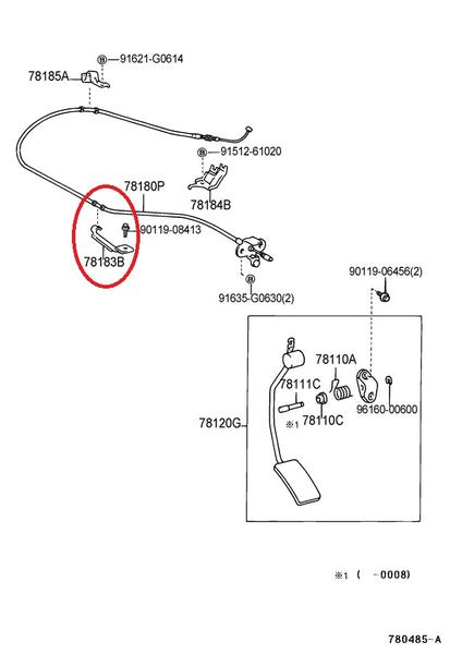 Toyota 78183-35030 Accelerator Control Cable Clamp